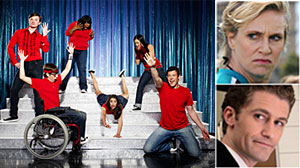 Photo: The Cast of Glee with Jane Lynch and Matthew Morrison