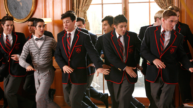 "PHOTO: Blaine performs with the Warblers in ""The First Time"" episode of Glee airing, Nov. 8, 2011."