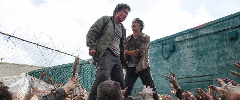 """PHOTO: Michael Traynor and Steven Yeun star in """"The Walking Dead,"""" season six, episode three."""