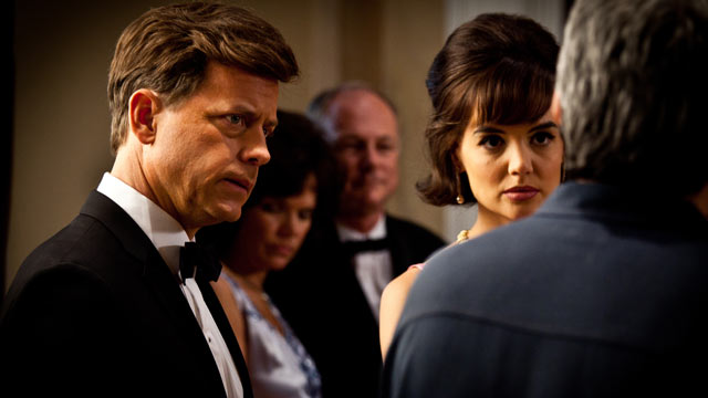 "PHOTO: Seen here is Katie Holmes and Greg Kinnear, debut in controversial mini-series ""The Kennedys""."