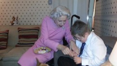 PHOTO: A costumed Helen Mirren spends time with Oliver Burton, backstage after her show.