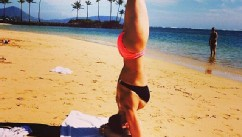 Hilaria Baldwin Does Yoga Post-Baby
