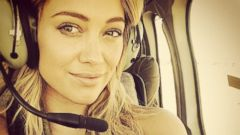 Hilary Duff Enjoys a Helicopter Ride