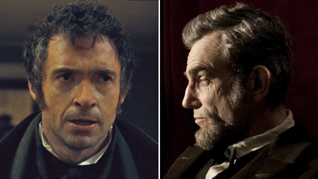 PHOTO: Oscar Nominees Hugh Jackman in &quot;Les Miserables,&quot; left, and Daniel Day Lewis, right, in &quot;Lincoln.&quot;