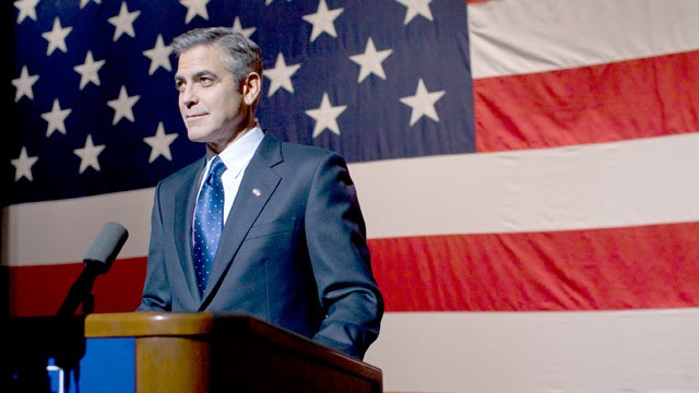 PHOTO: George Clooney, playing Governor Morris, delivers a major speech at Kent State University in Columbia Pictures Ides of March.