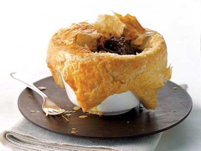 Gourmet Comfort's beef and Guinness pie is shown here.