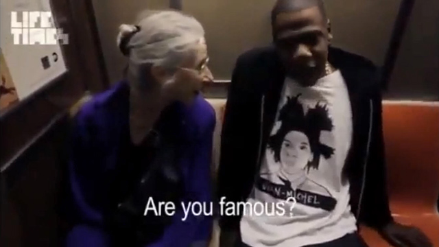 PHOTO: Jay-z takes the subway in route to his last show and sits next to a kind-faced older woman named Ellen who has no idea who she's talking to.