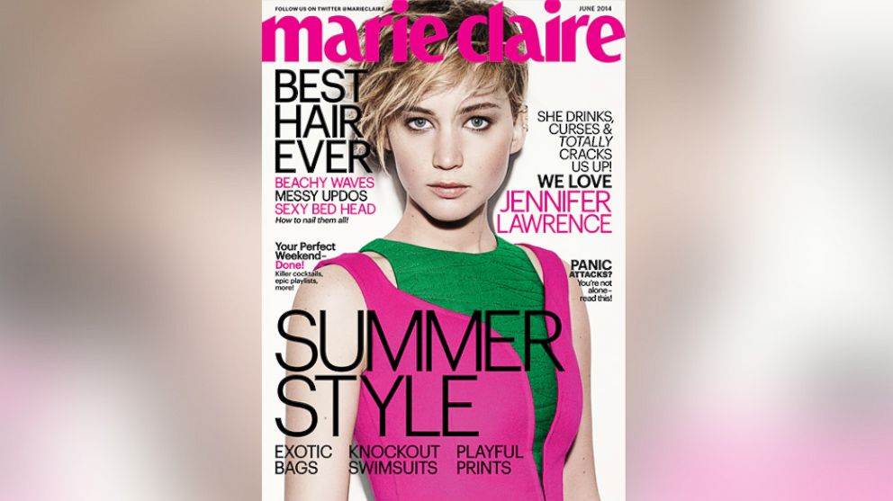 PHOTO: Jennifer Lawrence poses on the June 2014 cover of Marie Claire magazine.
