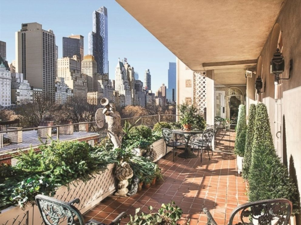 PHOTO: A view of one of two terraces at the 1 East 62nd St. penthouse in New York City. Joan Rivers former residence is on the market for $28 million.