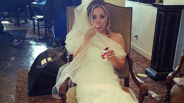 ht kaley cuoco wedding dress instagram thg 131018 16x9 608 See Kaley Cuoco in a Wedding Dress