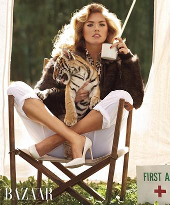 Kate Upton Cuddles With Tiger