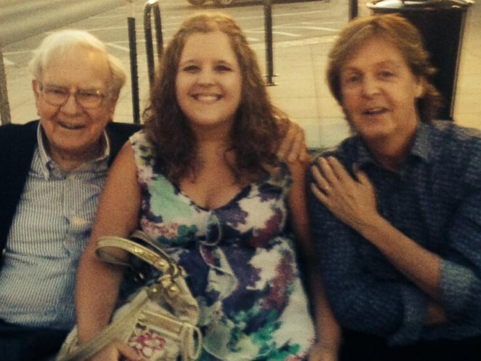 PHOTO: Katy Clarke of Nebraska posted this image of herself with Warren Buffett and Sir Paul McCartney to her Twitter account on July 13, 2014.