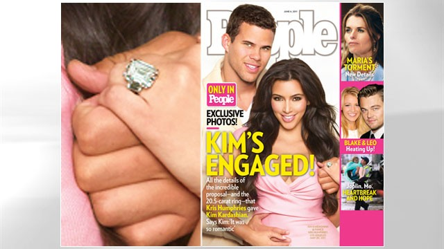PHOTO:&nbsp;Kim Kardashian and Kris Humphries announce their engagement.