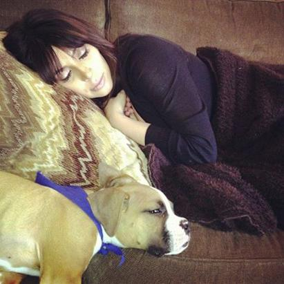 Kim Kardashian Naps With Puppy Bernard