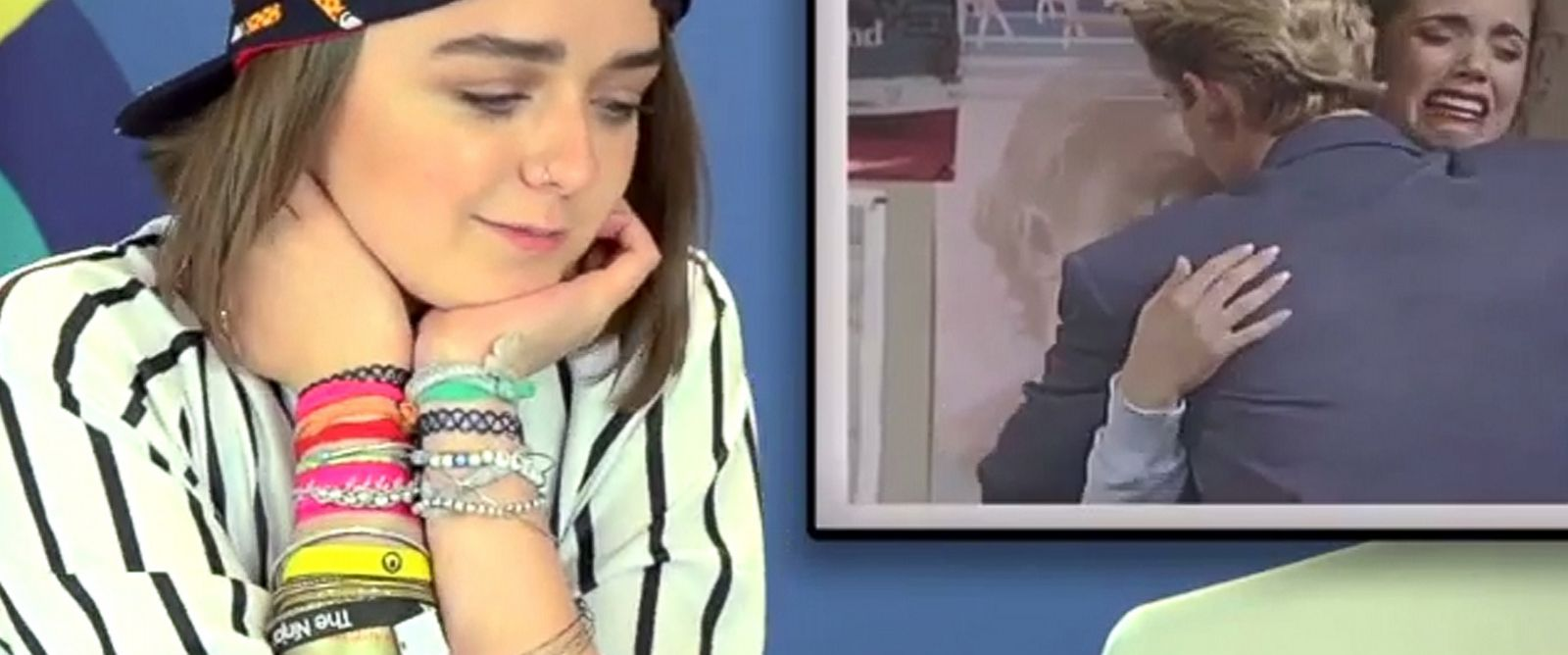 "PHOTO: Maisie Willams in a frame grab from the ""Teens React to Saved by the Bell"" video posted to YouTube."