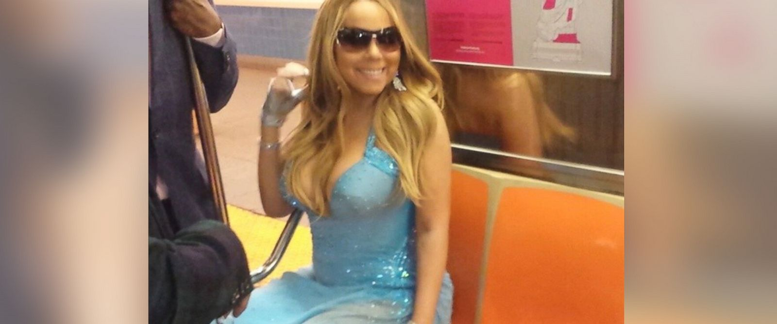 "PHOTO: Mariah Carey posted this photo to her Instagram on May 30, 2014 with the caption, ""Glimpses of our joyride on the 1 train #subwayincouture."""