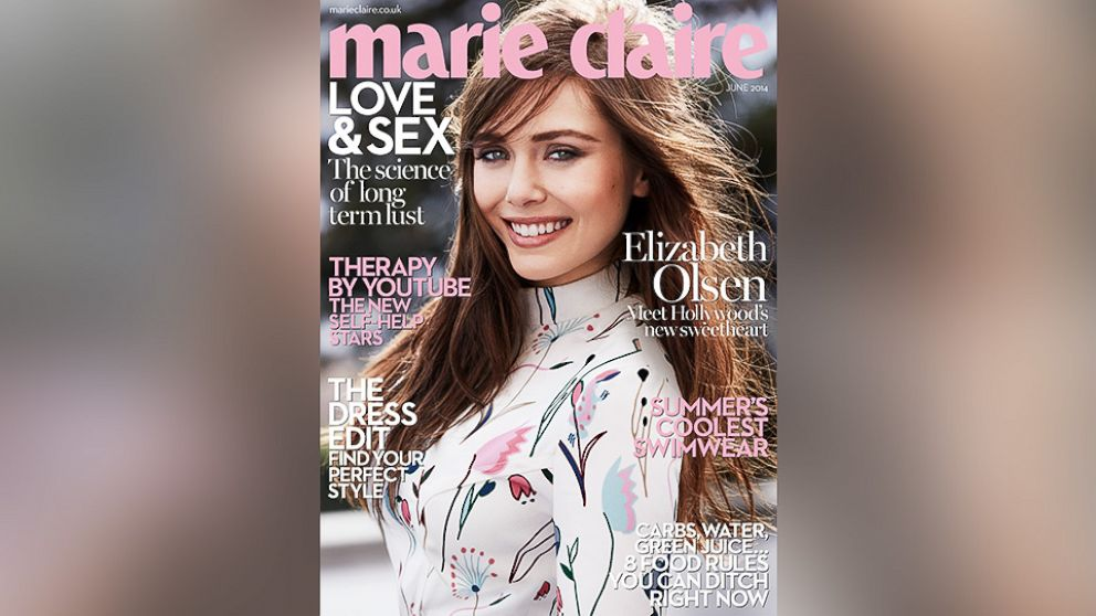 PHOTO: Elizabeth Olsen poses on the cover of the June 2014 edition of Marie Claire.