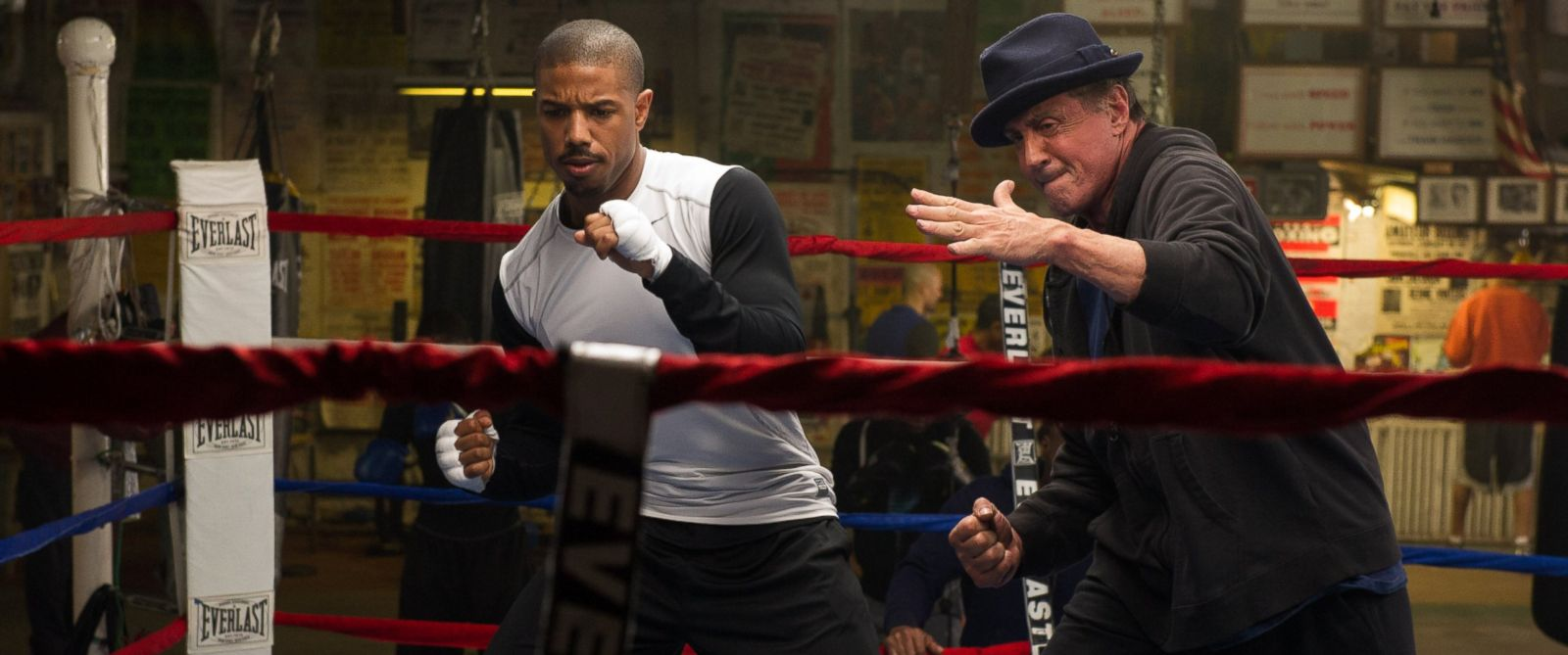 "PHOTO: Michael B. Jordan as Adonis Johnson and Sylvester Stallone as Rocky Balboa in ""Creed."""