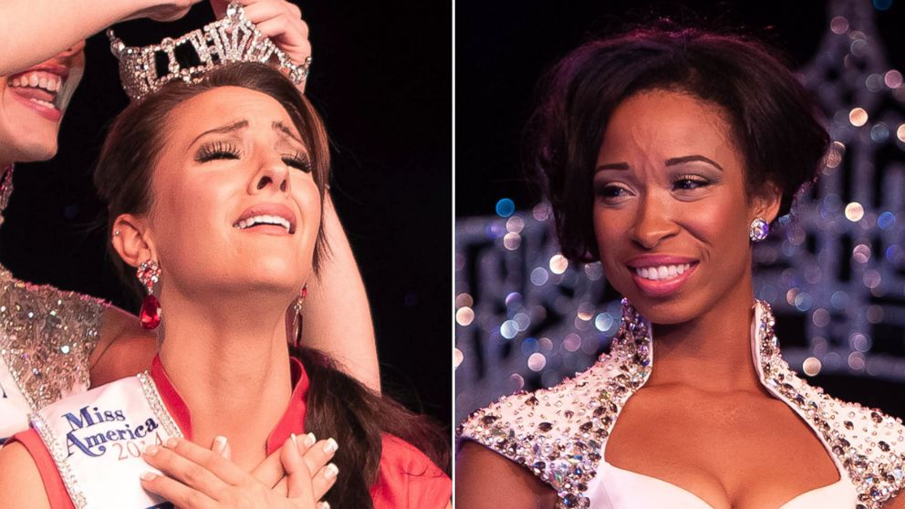 PHOTO: Amanda Longacre, left, was crowned Miss Delaware 2014 on June 14, 2014 but her crown has been passed to runner-up Brittany Lewis, seen during the competition, because Longacre turns 25 in October.