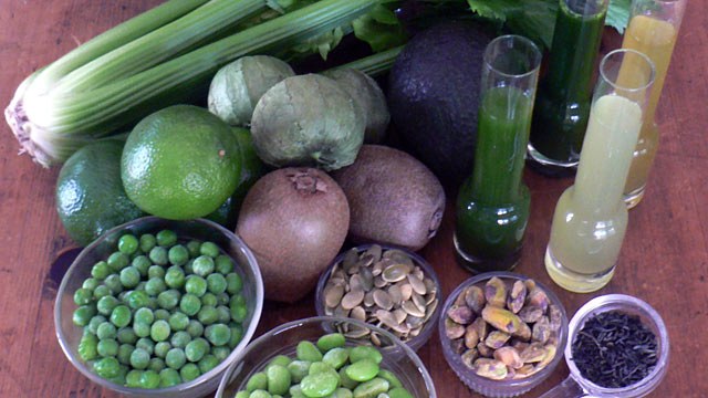 PHOTO: Diane Henderiks created recipes with the green fruits and vegetables shown here.