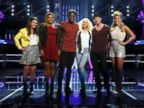 Jacquie Lee, Stephanie Anne Johnson, Matthew Schuler, Christina Aguilera, Josh Logan, Olivia Henken on the Oct. 29, 2013 episode of The Voice.
