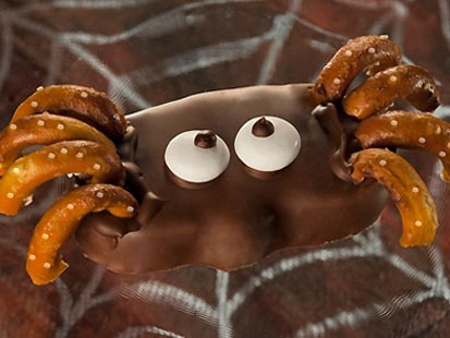 Reese's peanut butter pumpkin spiders are shown here.