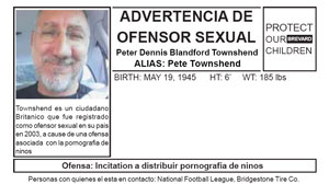 A flyer accusing Pete Townshend of being a sex offender has been circulating in Miami.