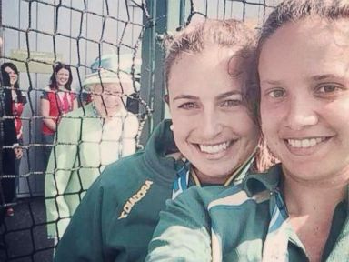PHOTO: JJayde Taylor posted this photo with her friend, Brooke Peris and showing the Queen in the background, to Twitter on July 24, 2014 with the caption, Ahhh The Queen photo-bombed our selfie!! ?? ?? #royalty #sheevensmiled #amazing #Glasgow2014.