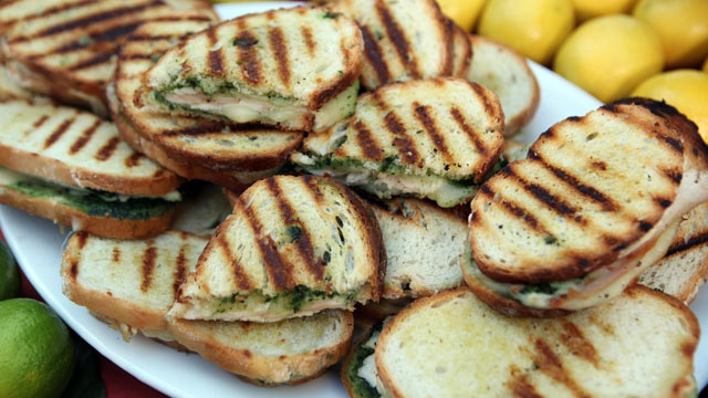 PHOTO: Emeril's turkey sandwich with provolone and pesto is shown here.