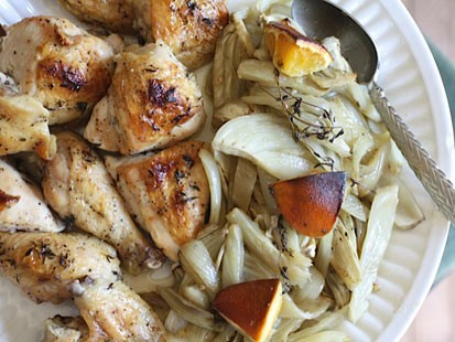 Rachel Willen's honey-orange roasted chicken with fennel is shown here.