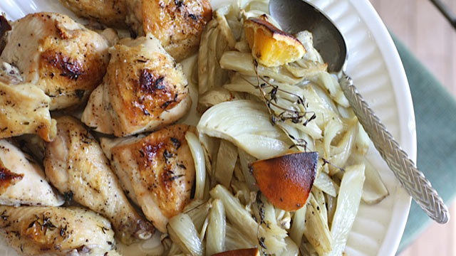 PHOTO: Rachel Willen's honey-orange roasted chicken with fennel is shown here.