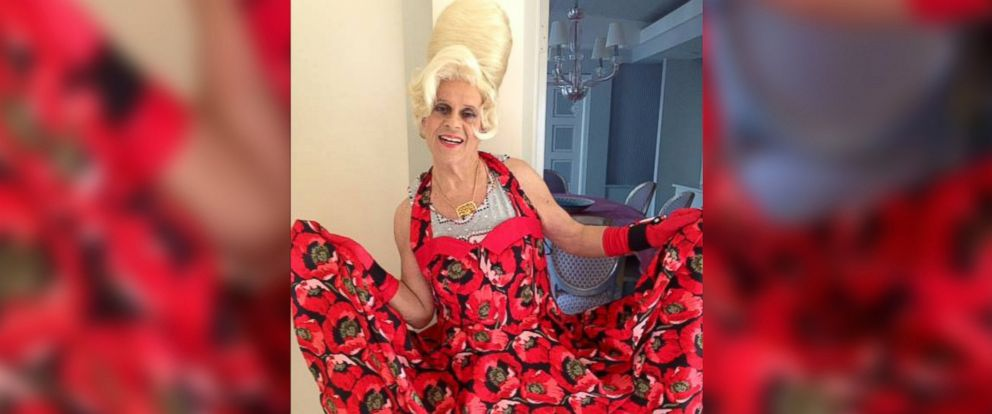 """PHOTO: Richard Simmons appears in a dress and beehive wig in a photo posted to his Facebook page on July 11, 2014 with the caption, """"Im in a dancing mood!"""""""