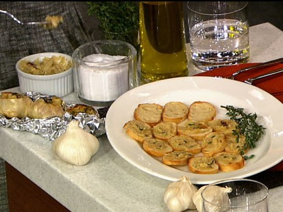 Carla Hall's roasted garlic spread is shown here.