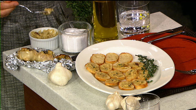 PHOTO: Carla Hall's roasted garlic spread is shown here.