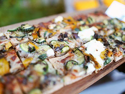 Cooking Light's roasted vegetable and ricotta pizza.