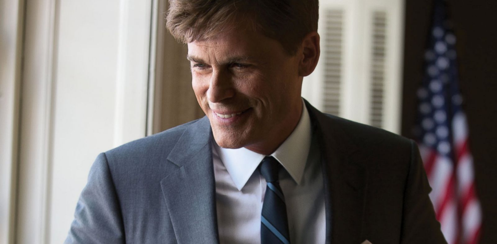 "PHOTO: Rob Lowe as President John F. Kennedy on the set of ""Killing Kennedy""."
