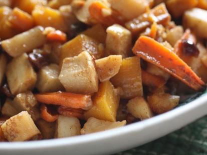 PHOTO: Rachel Willens root vegetable tzimmes is shown here.