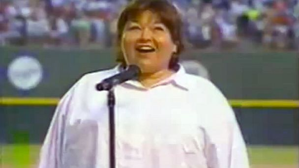 PHOTO: Roseanne Barr is seen in this youtube clip singing the national anthem before San Diego Padres vs Cincinnati Reds game,  July, 25, 1990.