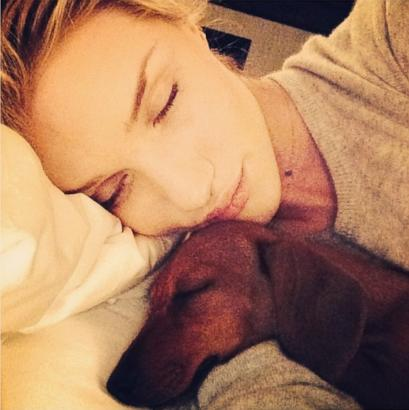 Rosie Huntington-Whiteley Snuggles With Her Dachshund