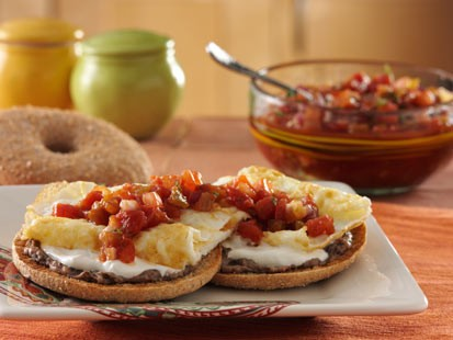 Thomas English Muffins' Santa Fe bagel thins bagel is shown here.