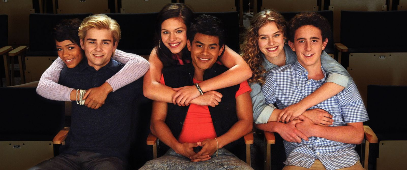 "PHOTO: Sam Kindseth, Taylor Russell McKenzie, Dylan Everett, Julian Works, Alyssa Lynch and Tiera Skovbye and star in Lifetime's all-new original movie, ""The Unauthorized Saved by the Bell Story"" airing on Sept. 1, 2014."