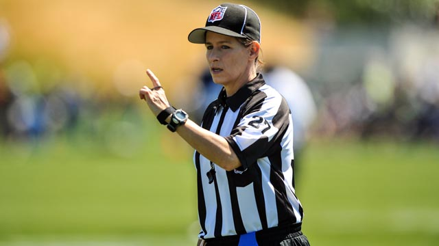 PHOTO: Shannon Eastin, first female NFL referee, will officiate the San Diego Chargers-Green Bay Packers game this Thursday.