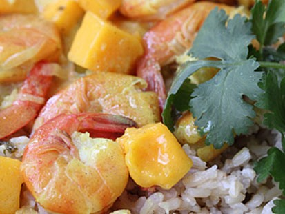 Erin Chase's shrimp mango curry is shown here.