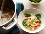 PHOTO: A spicy peanut and shrimp soup is shown here.