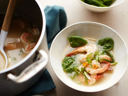 A spicy peanut and shrimp soup is shown here.