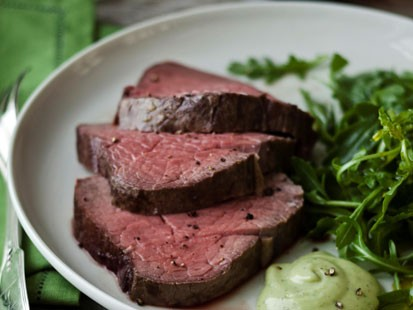 ina garten's slow-roasted filet of beef with basil parmesan