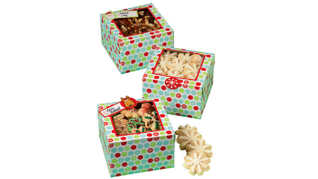 PHOTO: The snowflake wishes square cookie box from The Container Store are shown.