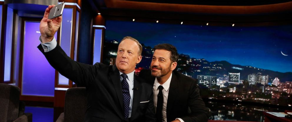 "PHOTO: Former White House Press Secretary Sean Spicer takes a selfie with Jimmy Kimmel on ""Jimmy Kimmel Live"" on September 13, 2017, in Los Angeles."