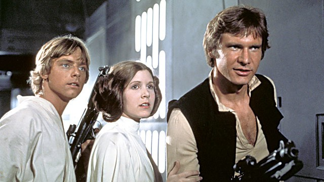 PHOTO: Mark Hamill, Carrie Fisher and Harrison Ford in 'Star Wars'