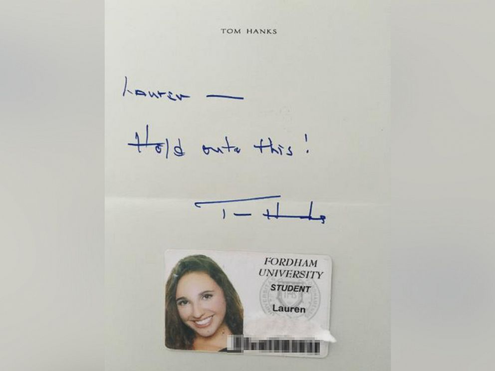PHOTO: An undated photo provided by a student who asked to be identified as Lauren Ashley shows the handwritten note she received from Tom Hanks when he returned her Fordham student ID.